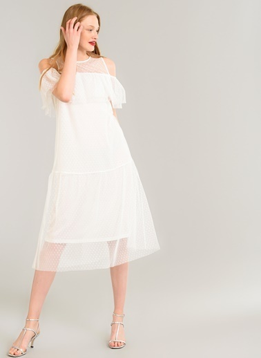 People By Fabrika Tül Volanlı Elbise Beyaz